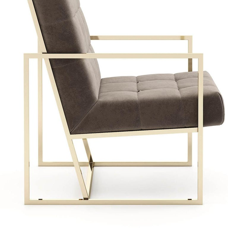 Stainless Steel Matrix Fabric Armchair with Taupe Fabric For Sale