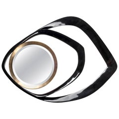 Matrix Mirror in Black Pen Shell and Bronze-Patina Brass by R&Y Augousti