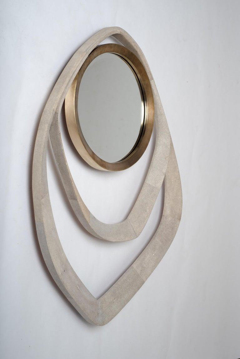 Art Deco Matrix Mirror in Cream Shagreen and Bronze-Patina Brass by R&Y Augousti For Sale