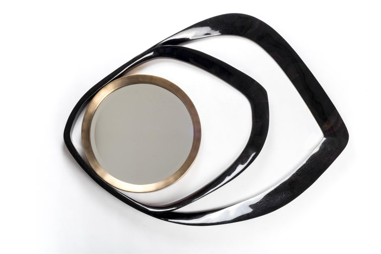 Hand-Crafted Matrix Mirror in Cream Shagreen and Bronze-Patina Brass by R&Y Augousti For Sale