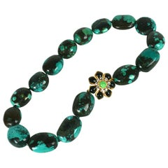 Matrix Turquoise and Poured Glass Marguerite Necklace, MWLC