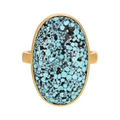 Matrix Turquoise Oval Ring in 18k Yellow Gold
