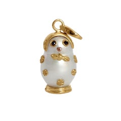 Matryoshka Black Diamond Australian Pearl 18Kt Gold Charm and Pendant/Necklace