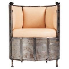 """Mats Theselius 'Älgskinnsfåtöljen"""", Iron and Elk Leather Easy Chair, no. 65/360"""