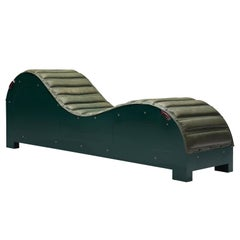 Mats Theselius Exclusive Daybed in Green Leather for Källemo, Sweden