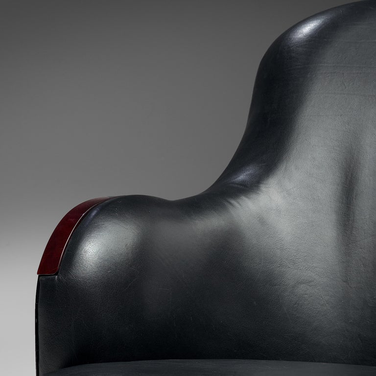 Post-Modern Mats Theselius for Källemo 'The Ritz' Lounge Chair in Black Leather For Sale