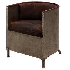 Mats Theselius Lounge Chair in Patinated Aluminium and Brown Leather