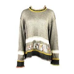 Matsuda Nicole Tokyo Japan Grey Knit Pullover Sweater w/ Beads