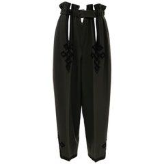 Matsuda Nicole Tokyo Japan Olive Green Wool Embroidered Pants, Circa: 1990's
