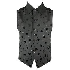 MATSUDA Size M Black Sequined Embroidered Polka Dot Satin Collared Vest