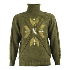 Matsuda Vintage Men's Green Knitted Wool Roll Polo Neck Sweater, 1980s