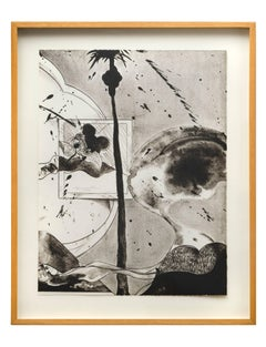Hollywood Hills Ghost, lithograph of scene in Hollywood Hills, palm tree, ghost