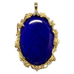 Matsuzaki 18 Karat Gold Foliage Deep Blue Lapis Lazuli Diamond Brooch Pendant