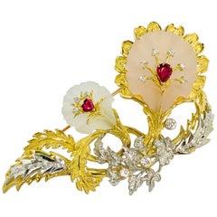 Matsuzaki 18 Karat Gold Platinum Frosted Quartz Ruby Diamond Flower Brooch