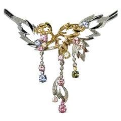 Matsuzaki 18 Karat White and Rose Gold Foliage Leaf Sapphire Diamond Necklace