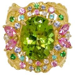 Matsuzaki 18K Gold 5.34ct Oval Peridot Paraiba Pink Sapphire Garnet Diamond Ring