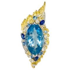 Matsuzaki 18K Platinum Marquise Aquamarine Blue Sapphire Diamond Forefinger Ring