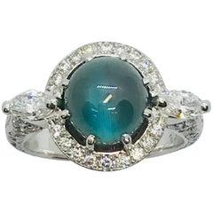 Matsuzaki 4.28 Carat Round Cabochon Alexandrite Cat's Eye Diamond Platinum Ring