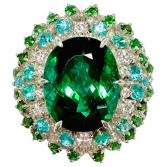 Matsuzaki Platinum 9.85 Carat Oval Green Tourmaline Paraiba Diamond Ring