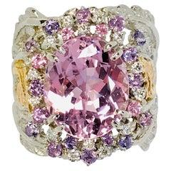 Matsuzaki Platinum Gold 7.58ct Oval Kunzite Pink Violet Sapphire Diamond Ring