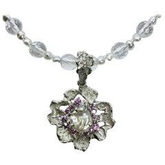 Matsuzaki PT900/K18 Keshi South Sea Pearl Pink Sapphire Diamond Flower Pendant