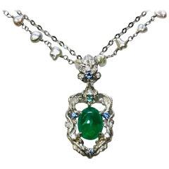 Matsuzaki PT900/K18 Oval Cabochon Emerald Pendant Necklace