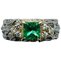Matsuzaki PT900/K18 Princess Cut Emerald Diamond Ring
