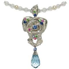 Matsuzaki Rose Flower Briolette Aquamarine Sapphire Diamond Pendant Necklace