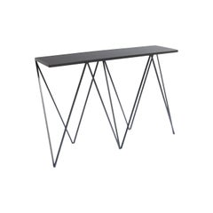 Charcoal Black Giraffe Console Table with Linseed Linoleum Table Top