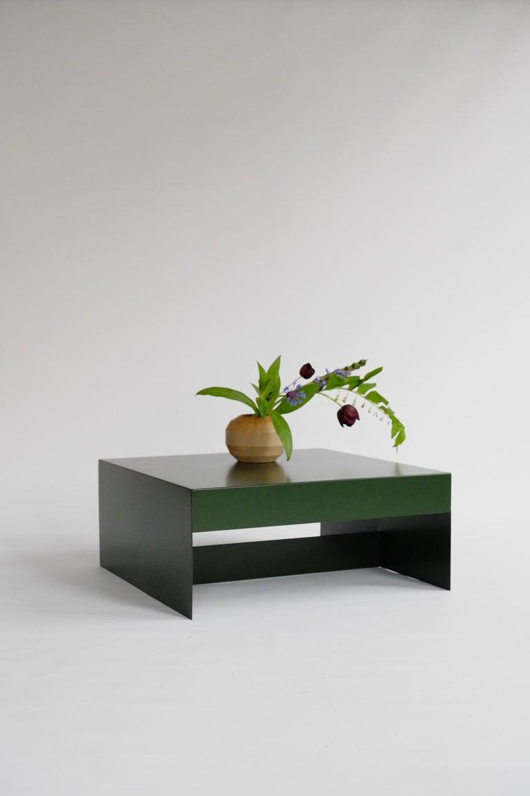 Matt Blue, Single Form Square Aluminium Coffee Table, Customisable For Sale 2