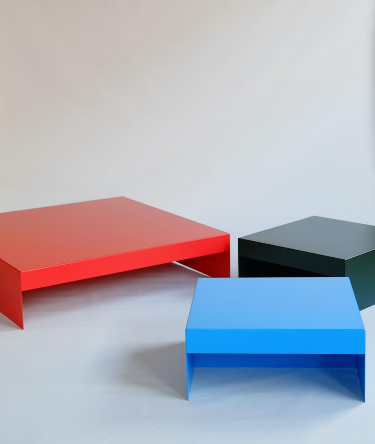 Our latest design - the single form coffee table. An elemental design with focus on form and function. Made in powder coated aluminium and available in customisable colours, the single form coffee table is a surprising design which is bold and