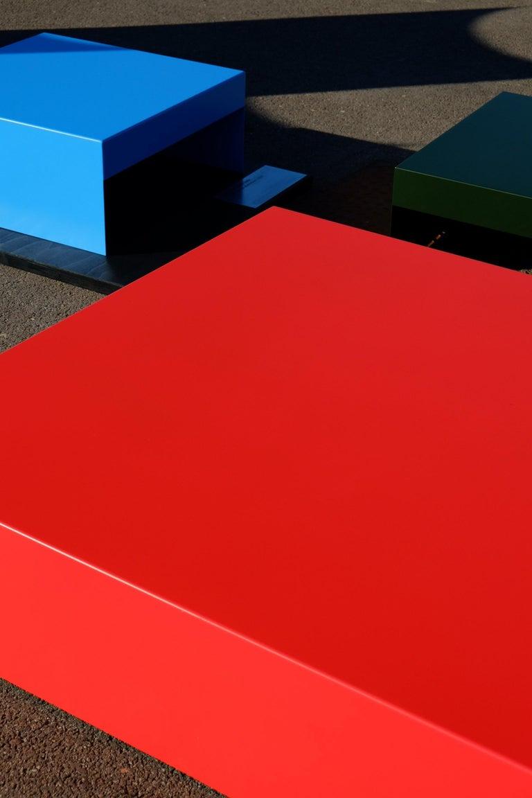 Modern Matt Blue, Single Form Square Aluminium Coffee Table, Customisable For Sale