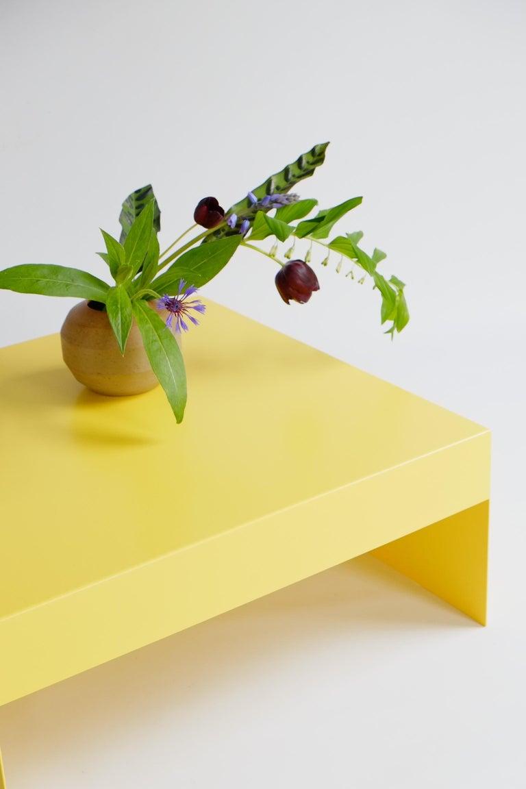 British Matt Blue, Single Form Square Aluminium Coffee Table, Customisable For Sale