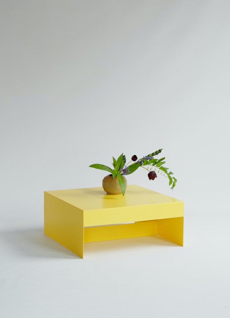 Powder-Coated Matt Blue, Single Form Square Aluminium Coffee Table, Customisable For Sale