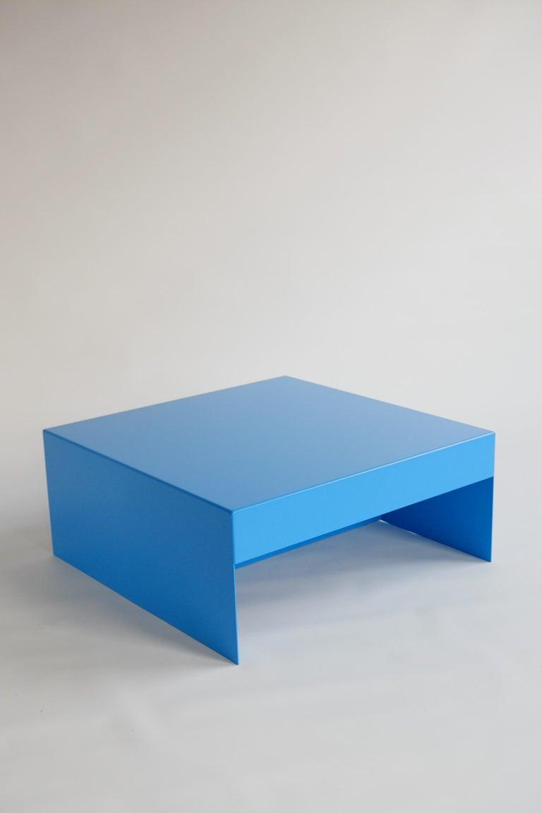 Contemporary Matt Blue, Single Form Square Aluminium Coffee Table, Customisable For Sale