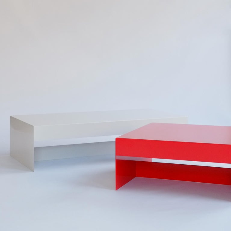 Aluminum Matt Blue, Single Form Square Aluminium Coffee Table, Customisable For Sale