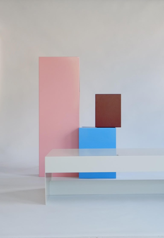 Matt Blue, Single Form Square Aluminium Coffee Table, Customisable For Sale 1