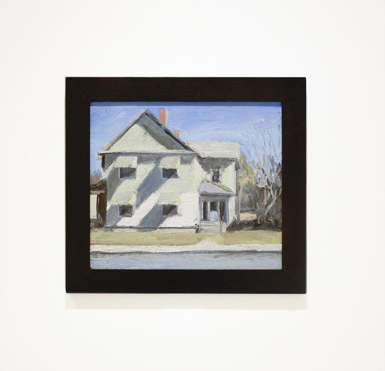 Route 4, Schuylerville, NY (En Plein Air Cityscape Painting of White House)  - Gray Still-Life Painting by Matt Chinian