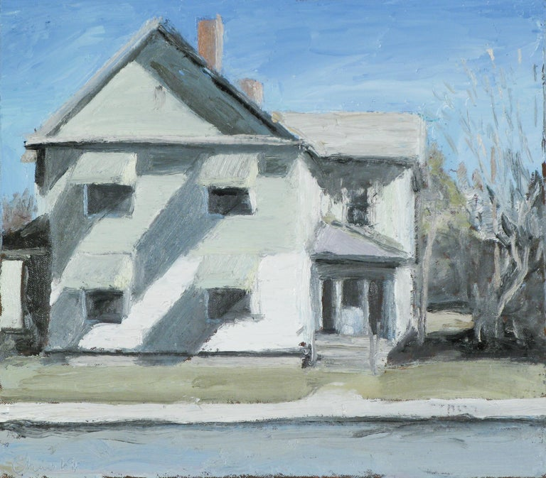 Matt Chinian Still-Life Painting - Route 4, Schuylerville, NY (En Plein Air Cityscape Painting of White House)