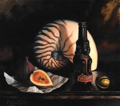 Nautilus Shell fig and bottle original contemporary oil painting