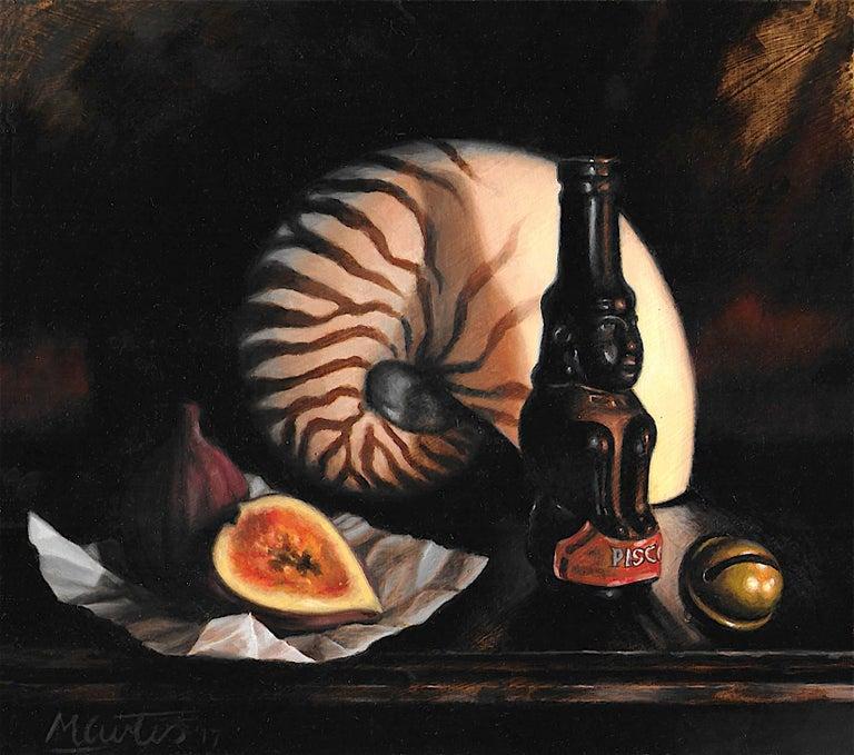 Matt Curtis Landscape Painting - Nautilus Shell fig and bottle - original contemporary realism oil still life