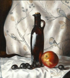 Oil and Apple-original still life realism oil painting Contemporary