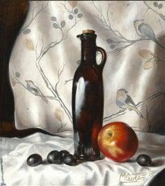 Oil and Apple - original still life realism oil painting Contemporary still life