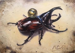 Stag Beetle-original still life - contemporary realism animal oil painting