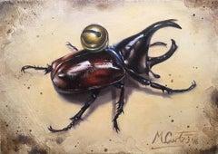 Stag Beetle-original still life - contemporary realism original oil painting