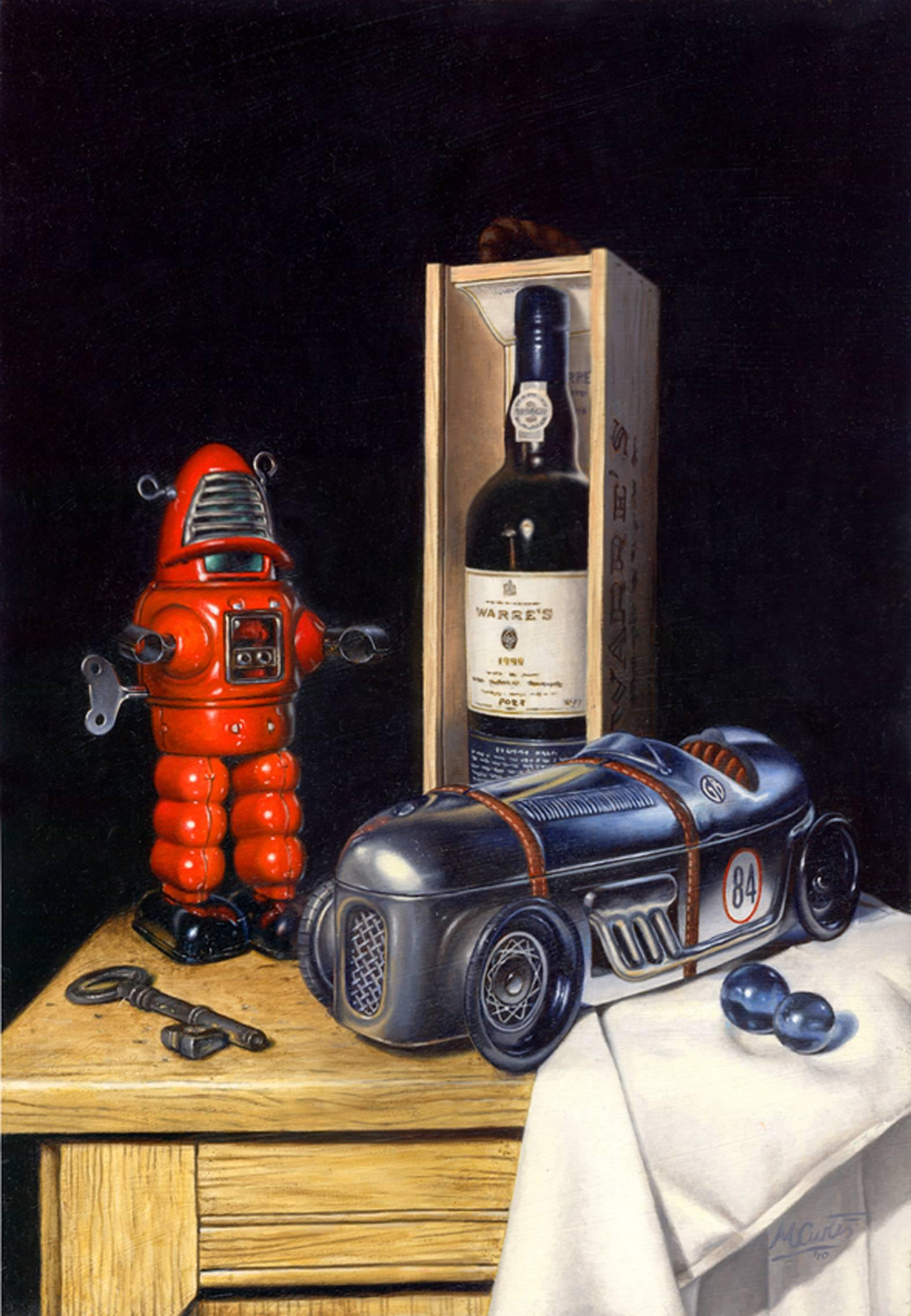 Tin Toys Port - original still life painting Contemporary realism animal classic