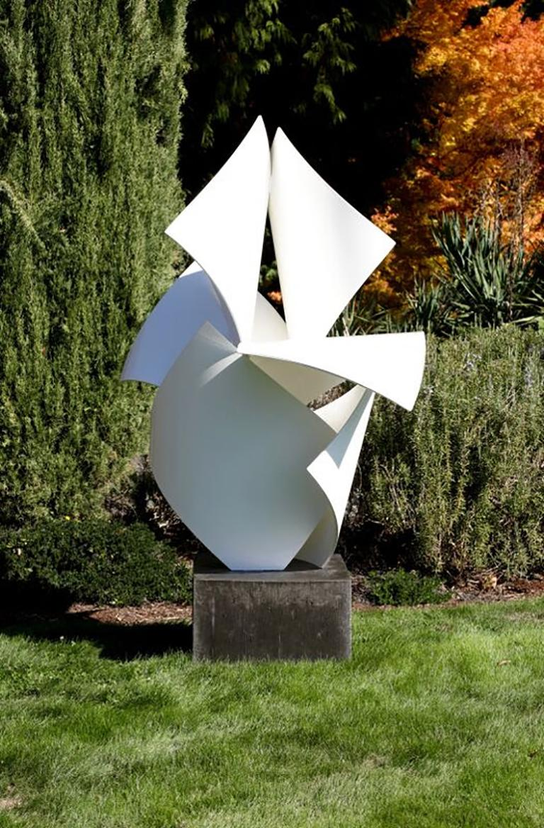 Large, freestanding sculpture by Matt Devine. Abstracted and biomorphic, 1763 is made from aluminum coated with Powdercoat paint and set on a concrete base. With strong line work and comprised of repeated, distinct shapes, 1763 can slo be placed