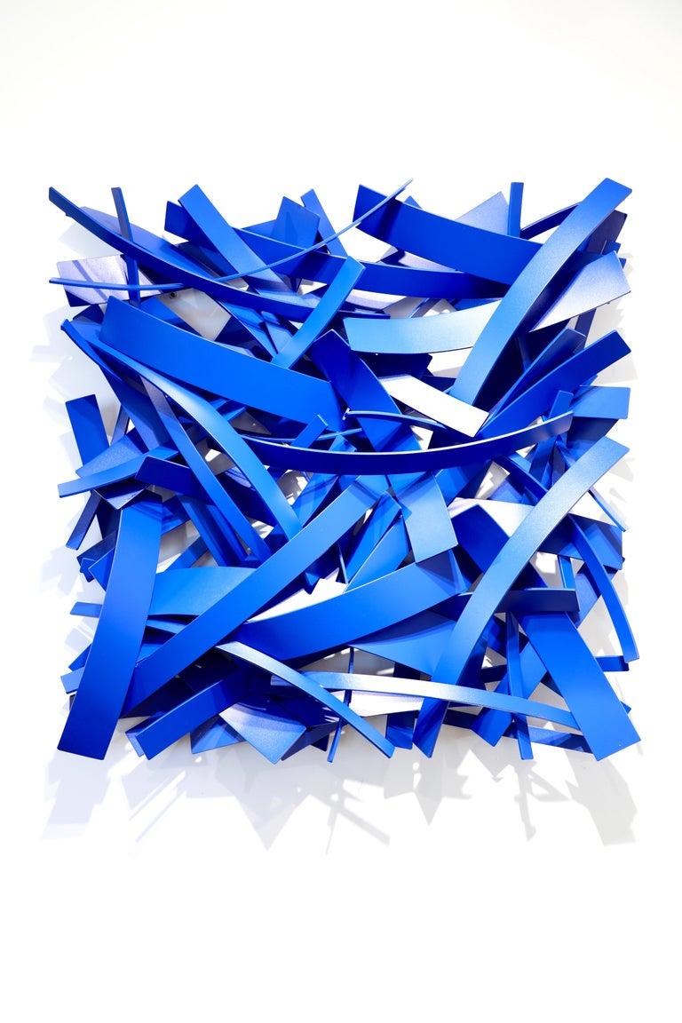 """1919""_2021, Matt Devine_Aluminum w/ Powdercoat, Indoor/Outdoor Abst Sculpture - Blue Abstract Sculpture by Matt Devine"