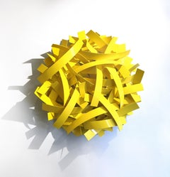 93 Million Miles #3 (Indoor and Outdoor Yellow Abstract Sculpture)
