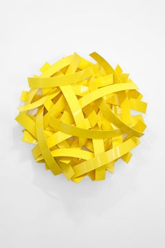 93 Million Miles #5 (Indoor and Outdoor Yellow Abstract Sculpture)